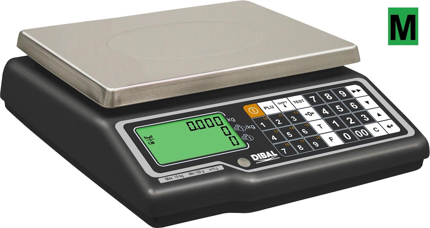 Obchodní váha DIBAL G 310B, váživost 6/15 kg (Obchodní váha s výpočtem ceny výrobce DIBAL model G 310, váživost 6/15 kg, dílek 2/5 g, aku baterie)