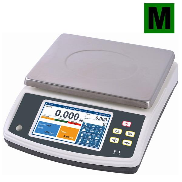 Počítací váha TSCALE Q7-40, 15kg, s dotykový displejem (Inteligentní počítací váha TSCALE Q7-40 do 15 kg, s režimem počítání kusů a limity, s archivací údajů o vážení, pro obchodní použití)