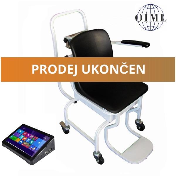 Mobilní vážící křeslo 1TVKLRWP-BMI, 250kg/100g, s výpočtem BMI (Mobilní vážící křeslo 1TVKLRWP-BMI do 250 kg pro vážení nemocných a handicapovaných osob s výpočtem BMI)