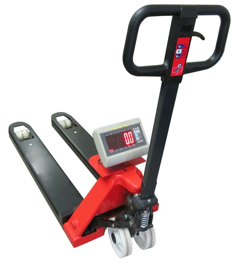Paletový vozík s váhou PV4T-CAS-DH, 1,5t, technologický (Ruční paletový vozík s váhou PV4T-CAS-DH s váživostí do 1500 kg pro kontrolní vážení)