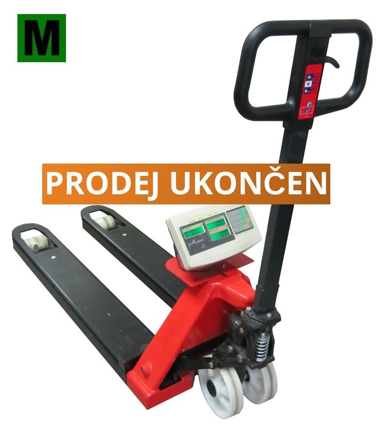 Paletový vozík s váhou PV4T-CQ2, 1,5t, cejchovaný (Ruční paletový vozík s váhou PV4T-CQ2 s váživostí do 1500 kg, ES ověření)