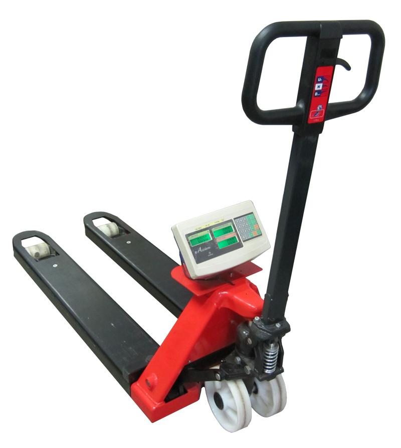 Paletový vozík s váhou PV4T-CQ2, 1,5t, technologický (Ruční paletový vozík s váhou PV4T-CQ2 s váživostí do 1500 kg, pro kontrolní vážení)